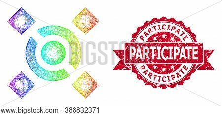 Spectrum Vibrant Wire Frame Central Link, And Participate Rubber Ribbon Seal Imitation. Red Stamp Se
