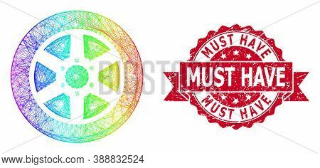 Rainbow Vibrant Wire Frame Car Wheel, And Must Have Rubber Ribbon Stamp Seal. Red Stamp Seal Has Mus