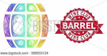 Rainbow Vibrant Wire Frame Barrel, And Wine Club Barrel Rubber Ribbon Seal Print. Red Seal Has Wine