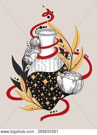 Hand Drawn Magic Bottle. Vial With Flower. Gothic Style. Vector Illustration Isolated. Tattoo Design