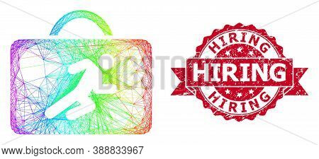 Bright Colored Wire Frame Career Case, And Hiring Rubber Ribbon Stamp. Red Stamp Seal Includes Hirin