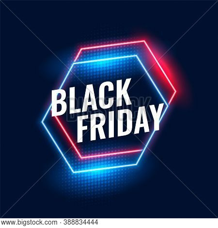 Black Friday Geometric Neon Background Vector Design Illustration