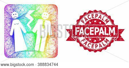 Rainbow Colorful Wire Frame Broken Wedding, And Facepalm Scratched Ribbon Stamp Seal. Red Stamp Cont