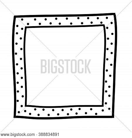 Polka Dot Dotted Square Frame. Black And White Design Element For Decoration. Simple Doodle Border C