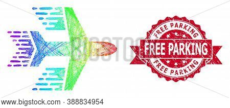 Spectrum Colorful Wire Frame Aircraft, And Free Parking Scratched Ribbon Seal. Red Stamp Seal Has Fr