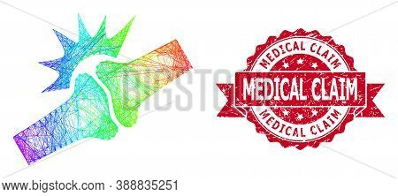 Bright Colorful Network Bone Joint Fracture, And Medical Claim Textured Ribbon Stamp Seal. Red Stamp