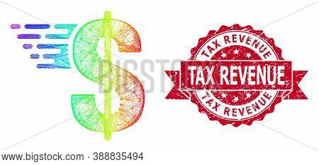 Spectrum Colorful Net American Dollar, And Tax Revenue Textured Ribbon Seal. Red Stamp Seal Includes
