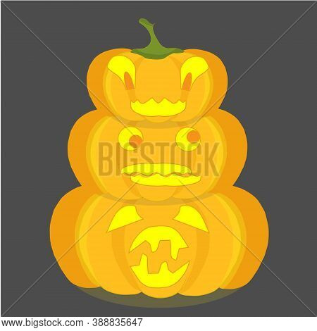 Halloween Pumpkin Emoji Set On Grey. Orange Funny Cartoons Art Design Element Object Isolated Stock