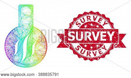 Rainbow Colorful Network Chemical Aroma, And Survey Corroded Ribbon Stamp Seal. Red Stamp Seal Conta