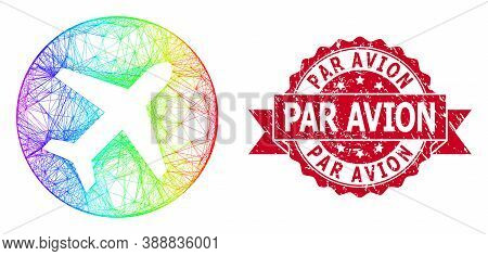 Rainbow Colored Wire Frame Airport, And Par Avion Corroded Ribbon Stamp Seal. Red Stamp Seal Include