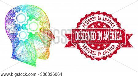 Rainbow Vibrant Network Brain Gears, And Designed In America Unclean Ribbon Seal. Red Stamp Seal Has
