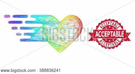 Bright Colorful Network Valentine Heart, And Acceptable Rubber Ribbon Seal Imitation. Red Stamp Seal