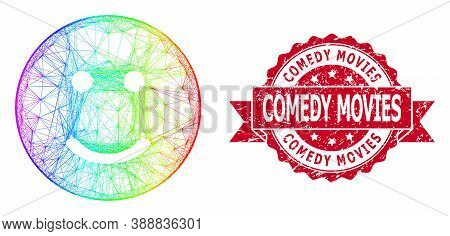 Spectrum Colored Wire Frame Glad Smiley, And Comedy Movies Textured Ribbon Stamp. Red Stamp Seal Inc