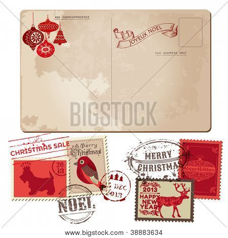 Vintage Christmas Postcard and Stamps - for design, invitation, congratulation, scrapbook - in vector
