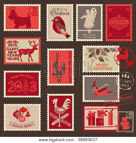 Christmas Postage Stamps - for design, scrapbook - in vector