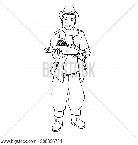 Vector Illustration.image In Black Outline A Cheerful Young Fisherman In A Fishing Suit And Rubber B