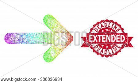 Rainbow Colored Network Right Arrow, And Deadline Extended Unclean Ribbon Seal Imitation. Red Seal H