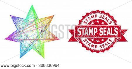 Rainbow Colored Wire Frame Eight Corner Star, And Stamp Seals Dirty Ribbon Seal Print. Red Stamp Con