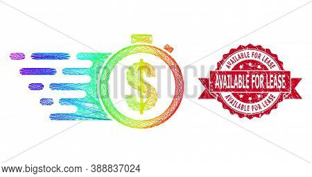 Spectrum Vibrant Network Credit Time, And Available For Lease Textured Ribbon Stamp. Red Stamp Has A