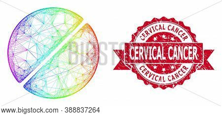 Rainbow Vibrant Wire Frame Medication Tablet, And Cervical Cancer Textured Ribbon Stamp Seal. Red St