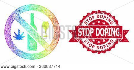Bright Vibrant Wire Frame Forbidden Wine Drugs, And Stop Doping Corroded Ribbon Stamp Seal. Red Stam