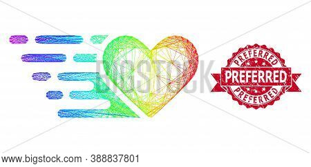 Spectrum Colored Wire Frame Love Heart, And Preferred Scratched Ribbon Seal. Red Stamp Seal Includes