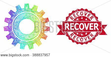 Rainbow Vibrant Network Cog, And Recover Scratched Ribbon Stamp. Red Stamp Includes Recover Title In
