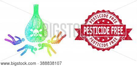 Spectrum Colored Wire Frame Dead Poisoned People, And Pesticide Free Corroded Ribbon Seal. Red Stamp
