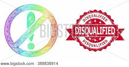 Rainbow Vibrant Wire Frame Forbidden Exclamation, And Disqualified Scratched Ribbon Stamp. Red Stamp