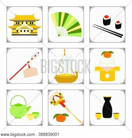 Symbols Of The Japanese New Year 2021 Castle, Fan, Roll, Chopstick, Tangerines, Arrow, Food, Rake, K