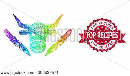 Rainbow Vibrant Wire Frame Cow Butchery, And Top Recipes Rubber Ribbon Stamp. Red Stamp Includes Top