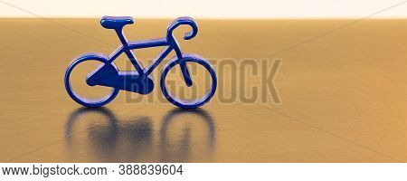 Decorative Cycle Trinket Object On Unfocused Background Golden And White Color View With Empty Copy