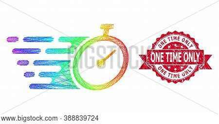 Rainbow Vibrant Net Time Tracker, And One Time Only Unclean Ribbon Seal. Red Stamp Seal Contains One