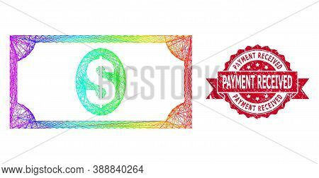 Rainbow Colorful Net Usd Banknote, And Payment Received Unclean Ribbon Stamp Seal. Red Stamp Seal Co