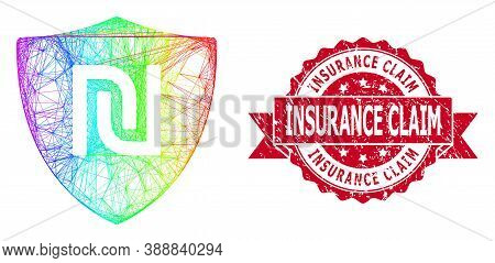 Rainbow Colorful Net Shekel Guard, And Insurance Claim Rubber Ribbon Stamp Seal. Red Stamp Seal Incl