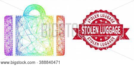 Bright Vibrant Wire Frame Luggage, And Stolen Luggage Dirty Ribbon Seal. Red Stamp Seal Contains Sto