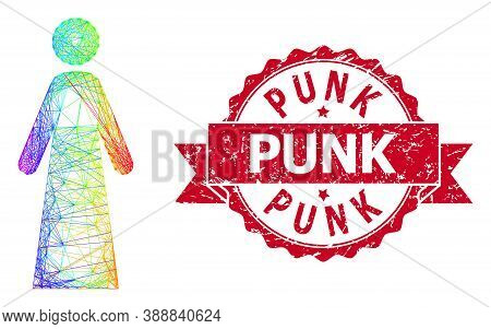 Rainbow Colorful Network Woman, And Punk Corroded Ribbon Stamp Seal. Red Seal Has Punk Caption Insid
