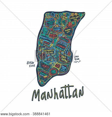 Color Map Of Manhattan, New York City, Usa. Hand-drawn Illustration In Doodle Cartoon Style On A Dar