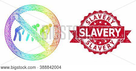 Bright Vibrant Wire Frame Forbidden Slavery, And Slavery Rubber Ribbon Seal. Red Stamp Seal Includes
