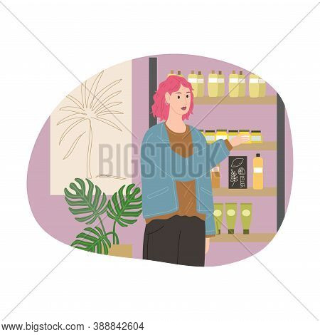 Girl With Pink Hair Comparing Items On Shelf In Cosmetics Store