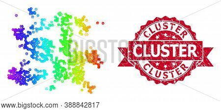 Spectrum Vibrant Net Particle Swarm, And Cluster Scratched Ribbon Stamp. Red Stamp Contains Cluster