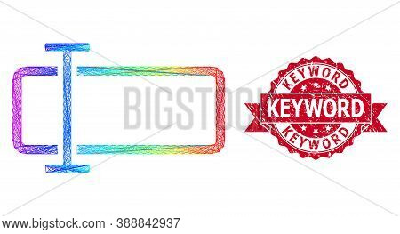 Spectrum Colored Network Text Field, And Keyword Textured Ribbon Stamp Seal. Red Stamp Seal Has Keyw