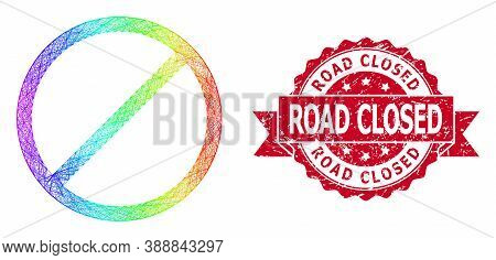 Bright Colorful Wire Frame Restrict, And Road Closed Scratched Ribbon Seal Imitation. Red Stamp Seal