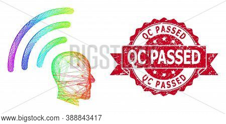 Rainbow Vibrant Network Telepathy Waves, And Qc Passed Corroded Ribbon Stamp Seal. Red Stamp Seal Ha