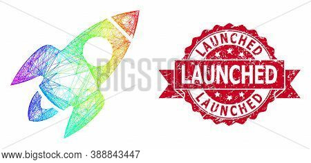 Rainbow Vibrant Wire Frame Rocket Flight, And Launched Scratched Ribbon Seal. Red Seal Has Launched