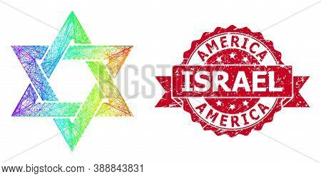 Spectrum Vibrant Wire Frame David Star, And America Israel Textured Ribbon Seal. Red Seal Contains A
