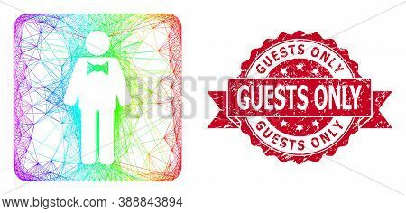 Bright Vibrant Net Groom, And Guests Only Dirty Ribbon Stamp Seal. Red Stamp Has Guests Only Tag Ins