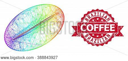 Rainbow Colorful Wire Frame Coffee Bean, And Brazilian Coffee Grunge Ribbon Stamp Seal. Red Stamp Co
