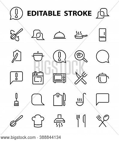 Set Of Cooking And Kitchen Icons, Vector Lines, Contains Icons Such As Frying Pan, Frying, Microwave