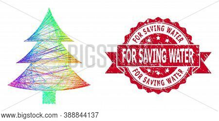 Bright Colored Wire Frame Fir-tree, And For Saving Water Corroded Ribbon Seal. Red Stamp Seal Has Fo